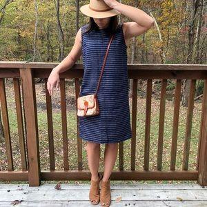 J Jill Navy / White Striped Linen Dress XSP